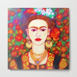My other Frida Kahlo with butterflies Metal Print