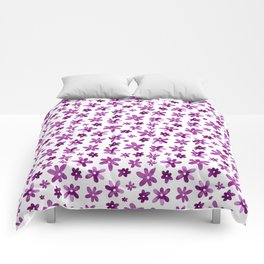 Watercolor Purple Florals Comforters