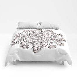 light broun flowers mandala Comforters
