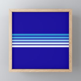 Retro Stripes on Blue Framed Mini Art Print