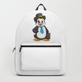 Penguin as Entrepreneur with Briefcase Backpack