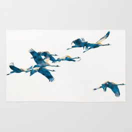 Beautiful Cranes in white background Rug