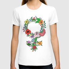 Feminist flower in color White MEDIUM Womens Fitted Tee