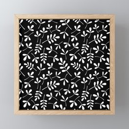 White on Black Assorted Leaf Silhouette Pattern Framed Mini Art Print