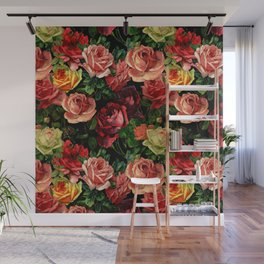 Vintage & Shabby chic - floral roses flowers rose Wall Mural