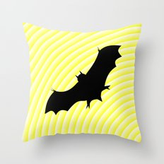 Flying bat in yellow Throw Pillow