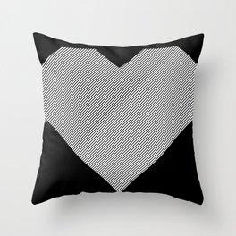 heart / black & white / Throw Pillow