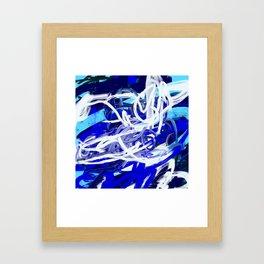 Blue & White Abstract Framed Art Print