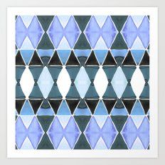 Art Deco Triangles Light Blue Art Print