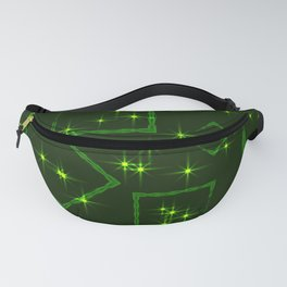 Green rhombuses and squares at the intersection with the stars on a grassy background. Fanny Pack