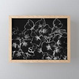 FLOWERS AT MIDNIGHT - IN BLACK & WHITE Framed Mini Art Print