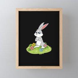 Cute Easter Bunny Rabbit Egg Hunt Framed Mini Art Print