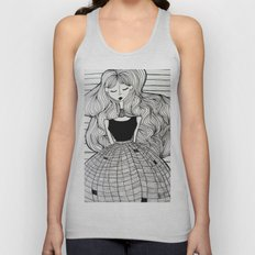 Woman in checkered dress Unisex Tank Top