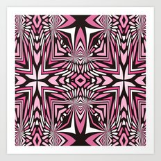 Pink Black and WHite Abstract Art Print