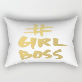Gold Foil Girl Boss Inspiration Quote Office Boss Babe Brushstroke Watercolor Ink Classic Rectangular Pillow