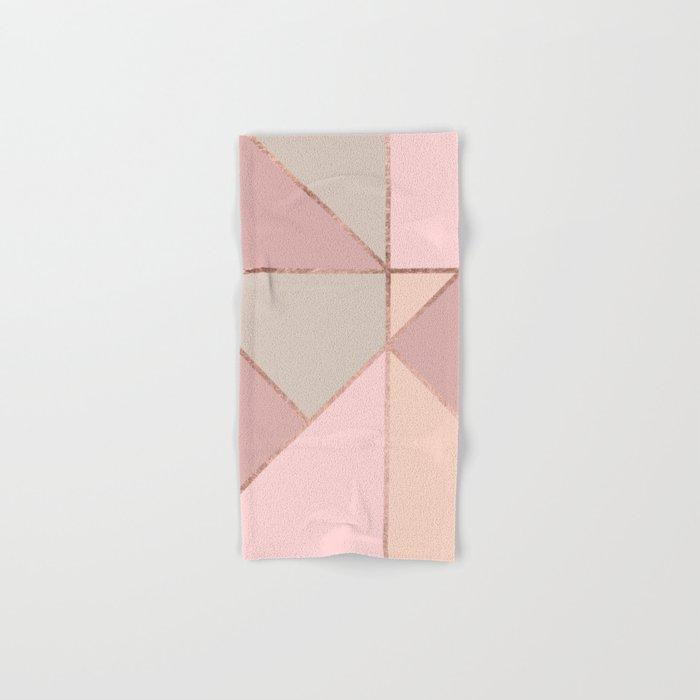 Modern rose gold peach blush pink color block Hand & Bath Towel