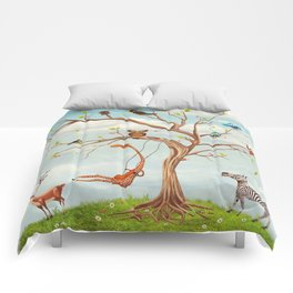 Tree with animals.Bunch of cute little creatures gathered on the branches of tree Comforters