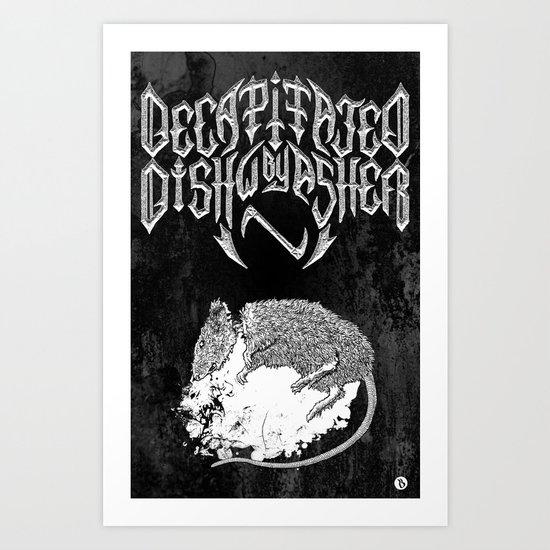 Decapitated by dishwasher II (black) Art Print