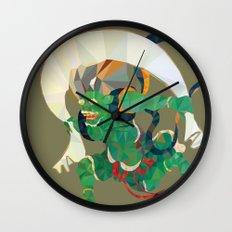 polygonal representation of Fūjin (japanese god of wind) Wall Clock