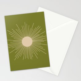 Mid-Century Modern Sunburst II - Minimalist Sun in Mid Mod Beige and Olive Green Stationery Cards