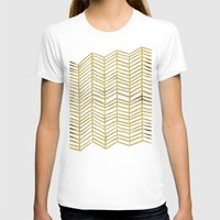 gold T-shirts featuring Gold Herringbone by Cat Coquillette