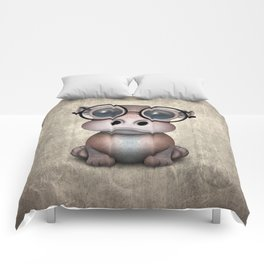 Cute Nerdy Baby Hippo Wearing Glasses Comforters