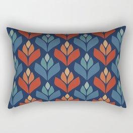 Blue & Red Retro Trefoil Pattern Rectangular Pillow