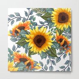 Sunflower Art, Yellow and Green, Botanica Print Metal Print