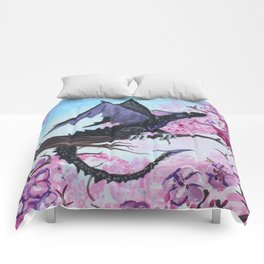 Baby Black Dragon in Cherry Tree Comforters