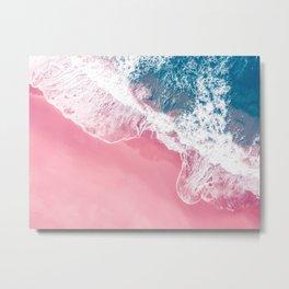 Aerial Pink Beach Metal Print
