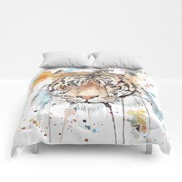"""Watercolor Painting of Picture """"Portrait of a Tiger"""" Comforters"""