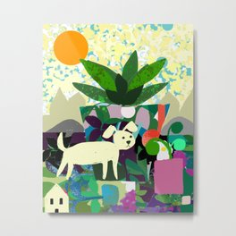 Collage With Dog and Plant Metal Print