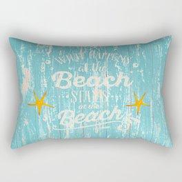 Happy Beach Life- Saying on aqua wood Rectangular Pillow