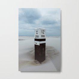 Beach pole 12 - Ameland North Beach photo print | peaceful landscape travel photography art print Metal Print