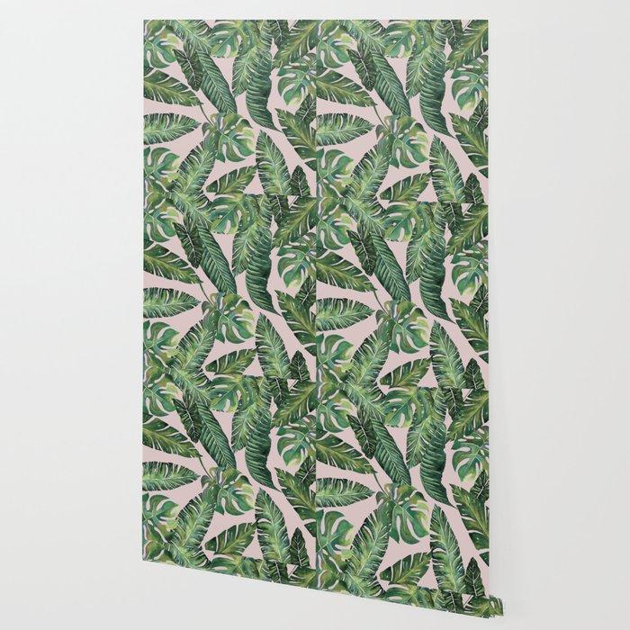 Jungle Leaves, Banana, Monstera Pink #society6 Wallpaper
