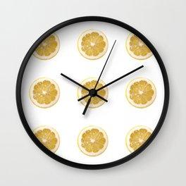 Lemon cropped on white background Wall Clock