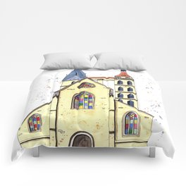 Gothic Church in Germany whimsical watercolor painting Comforters