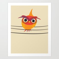 Owl On A Wire Art Print