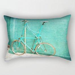 Tall Bike on Aqua Blue Green Rectangular Pillow