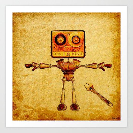Repair of the robot Art Print