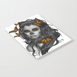 Sugar Skull Tattoo Girl with Butterflies Notebook