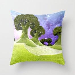 Broccoli Planet Throw Pillow