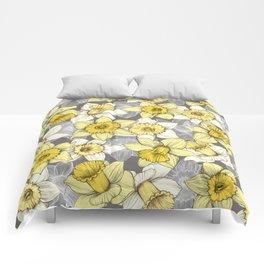 Daffodil Daze - yellow & grey daffodil illustration pattern Comforters