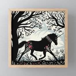 Folk Unicorn Framed Mini Art Print