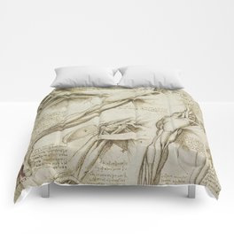 Leonardo Da Vinci human body sketches - arms Comforters