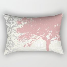 Tree Silhouette & Damask Backdrop Rectangular Pillow