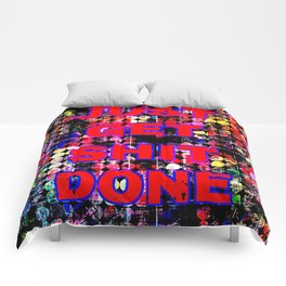 just get it done quote with circle pattern painting abstract background in red pink blue yellow Comforters