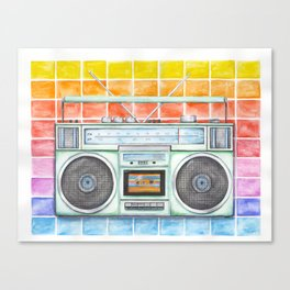Boombox - Watercolor - Rainbow Background vintage boombox - Stereo - 1980s Canvas Print