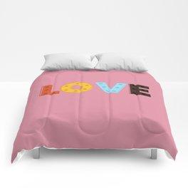 happy LOVE - typography Comforters