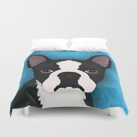 boston Duvet Covers featuring Boston terrier by Nir P